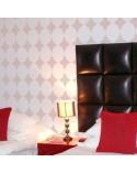 <h2>Stencil Home Decor Geometrico 002</h2> <p>Plantillas de gran formato para la decoración de habitaciones, paredes, techos, muebles, cortinas, alfombras, cojines</p> <p>Medidas aproximadas:</p> <ul> <li>Medida exterior del stencil:50 x66cm,</li> <li>Medida del diseño:48 x 64cm,</li> <li>Medida de la figura: 16 x 16 cm,</li> </ul> <p>* Podemos hacerle la figura del tamaño que desee.</p>