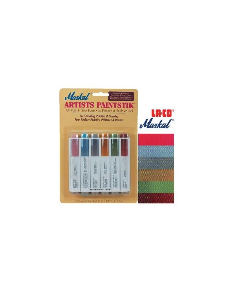 Pintura Markal Paintstik Pro 50ml Set Tradicional 6 Colores