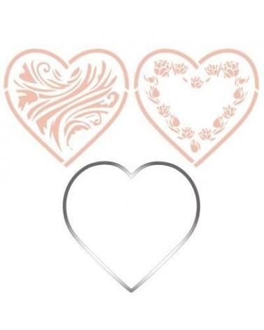 Stainless Steel Cutter 001 Heart + 2 Stencils