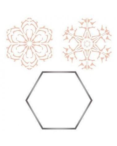 Inox Cutter Set 005 Sechseck + 2 Stencils