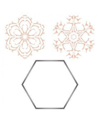 Stainless Steel Cutter 005 Hexagon + 2 Stencils