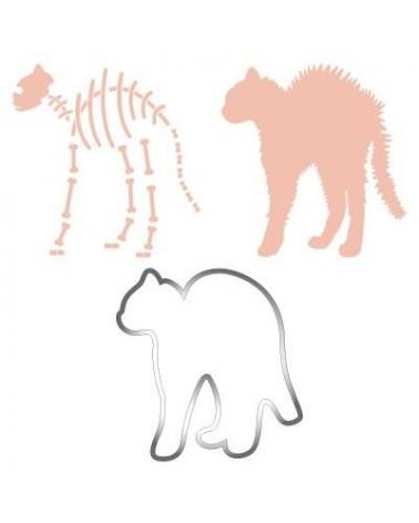 Inox Cutter Set 020 Halloween Katze + 2 Stencils