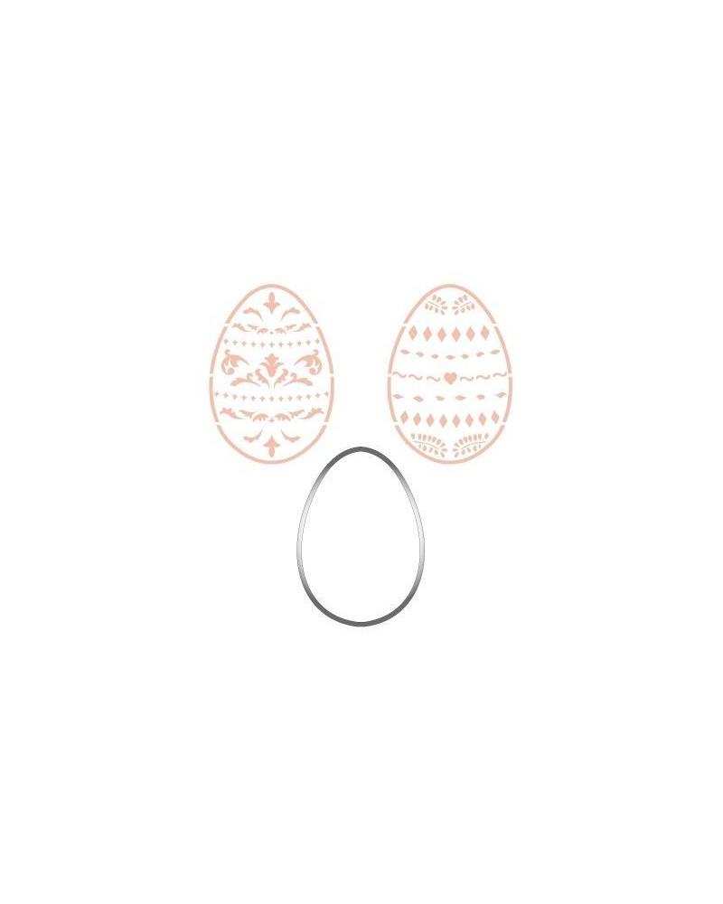Set Cortador Inox 002 Huevo de Pascua + 2 Stencils