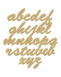 <h2>Silhouette Alphabet 009 Tied Adhesive lower case 40mm (1,6 in)</h2><p>Approximate size (height):</p><ul><li>2,2 cm (0,9 in)</ul><p>Choice between wood and cardboard</p>
