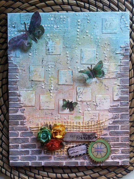 cuadro con stencil muro ladrillos