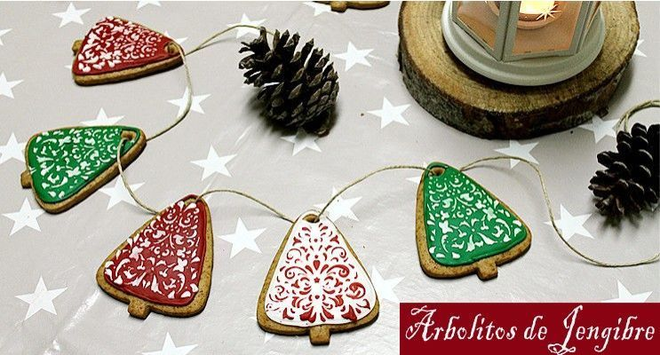 rakel cakes galletas con stencil arboles navidad