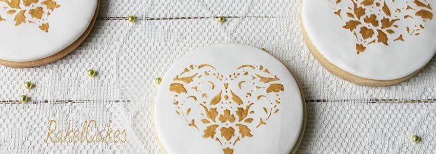 rakel cakes galleta boda dorado