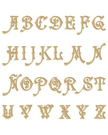 Wood Shape Alphabet 004 Carmencita capital
