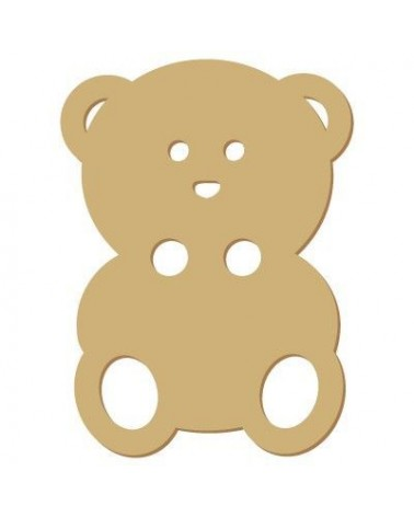 Wood Shape Button 016 Teddy Bear