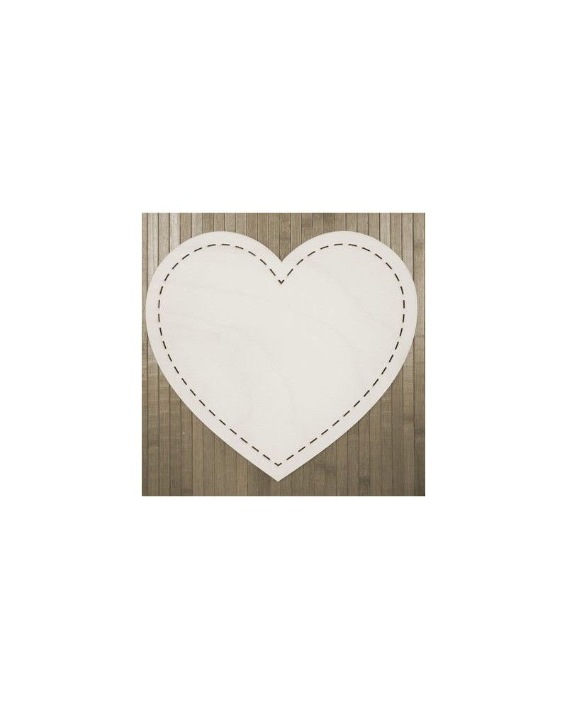 Wood Board 001 Stitched Heart