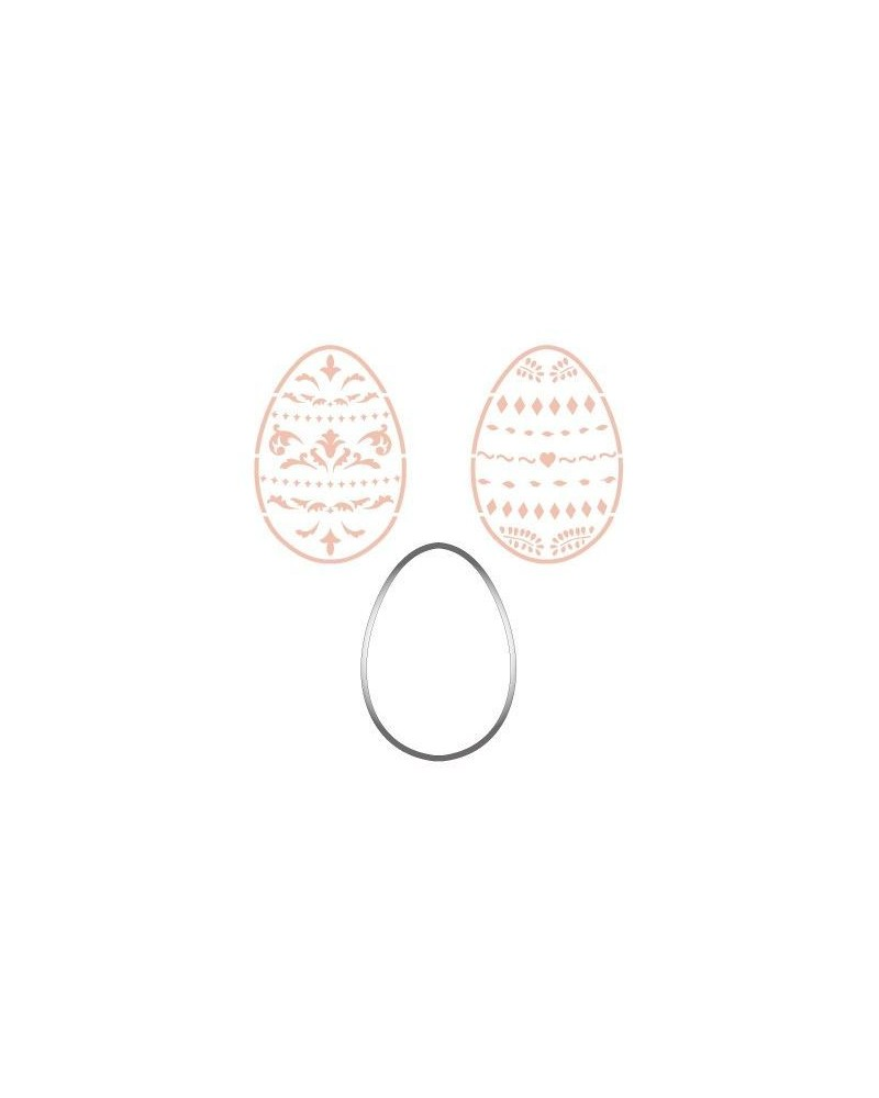 Stainless Steel Cutter 002 Easter Egg + 2 Stencils