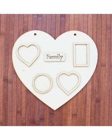 Wood Board 029 40 Photo Frame Heart 40x40cm
