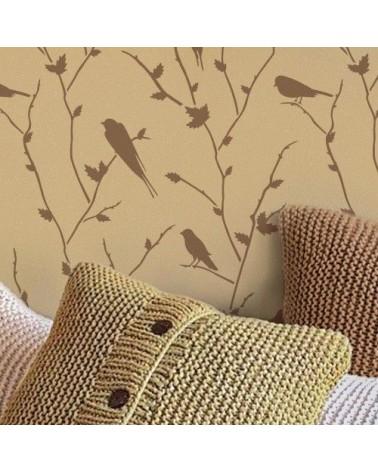 Wand Stencil Tier 006 Vögel auf Ast