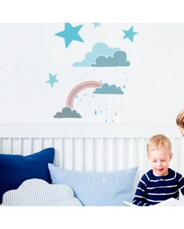 Home Decor Stencil Kids 001 Clouds Rainbow