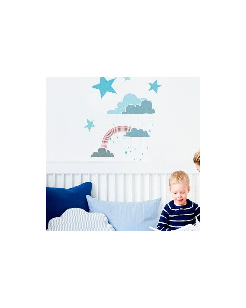 Stencil Pared Infantil 001 Nubes Arcoiris