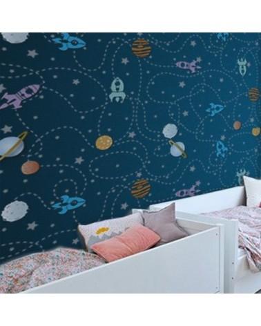Stencil Home Decor Infantil 002 Camino Cohetes