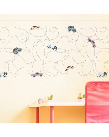Stencil Home Decor Infantil 004 Camino Coches