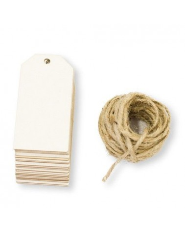 Pack 003 Tag Classic 20un 3,5x7cm wood w/rope