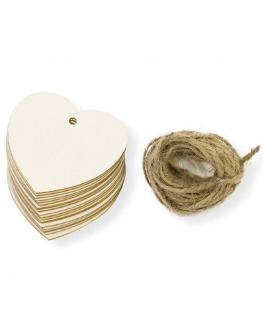 Pack 006 Tag Heart 20unit 6x5,6cm cardboard w/rope