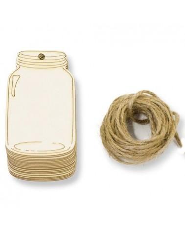 Pack 009 Tag Tarro 20un 6x5,6cm madera c/cuerda