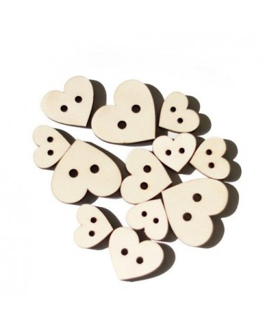 Wood Shapes 013 Heart Button 12un