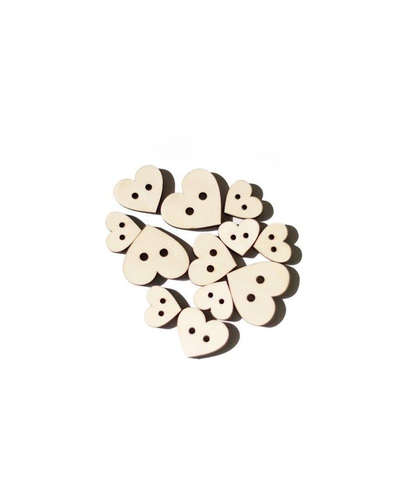 Pack 013 Botón Corazón 12un madera