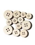 <h1>Pack 017 Botón Redondo 12un madera 7mm</h1><p><ul><li>(S) 2 de 4cm 4 de 3,2cm 6 de 2,5cm cm</li></ul></p>