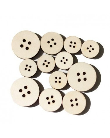 Wood Shapes 017 Round Button 12un