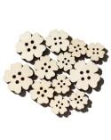 <h1>Pack 021 Botón Flor 12un madera 7mm</h1> <p>Juego de siluetas fabricado en madera de chopo de 7mm de grosor especial para scrapbooking y manualidades en general.</p> <ul> <li>2 de 4cm</li> <li>4 de 3,2cm</li> <li>6 de 2,5cm</li> </ul>