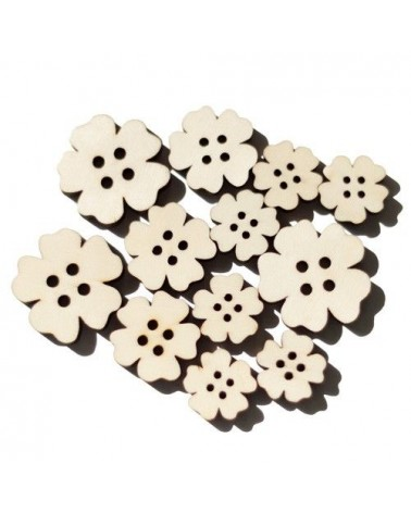 Wood Shapes 021 Flower Button 12un