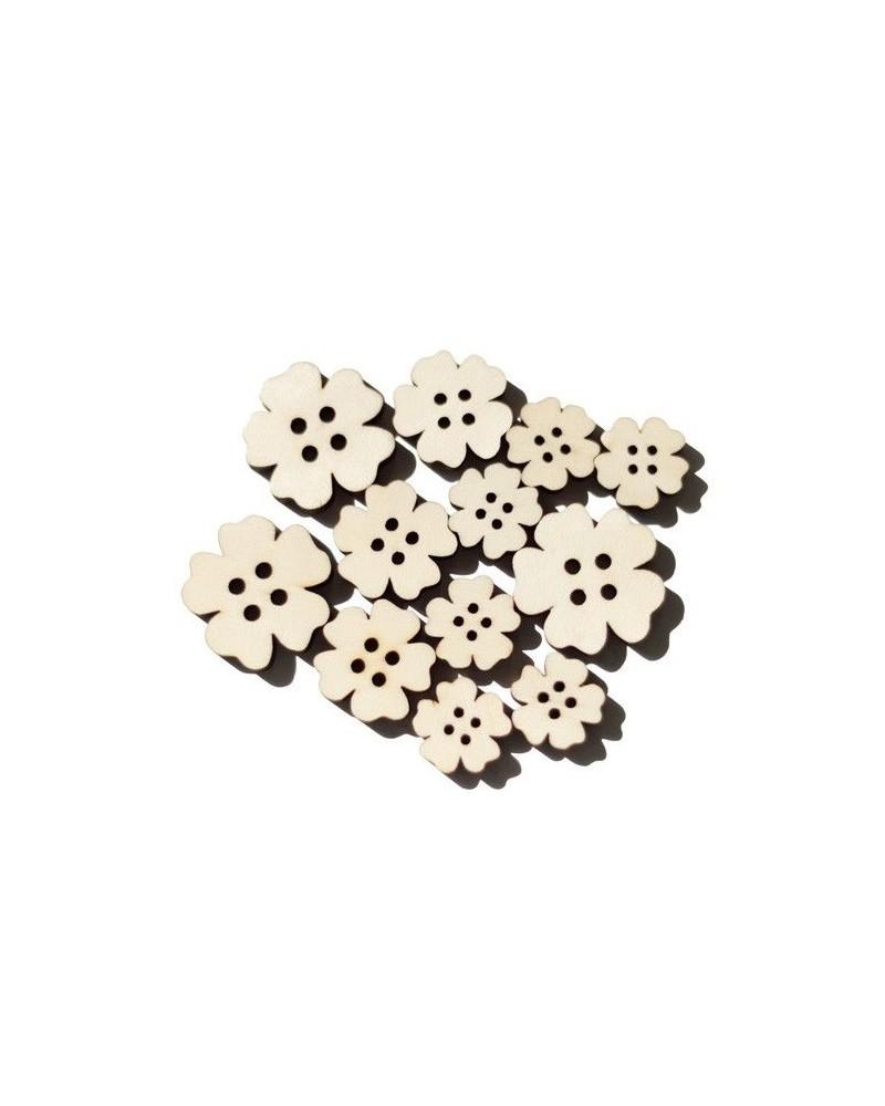 Pack 021 Button Flower 12un wood