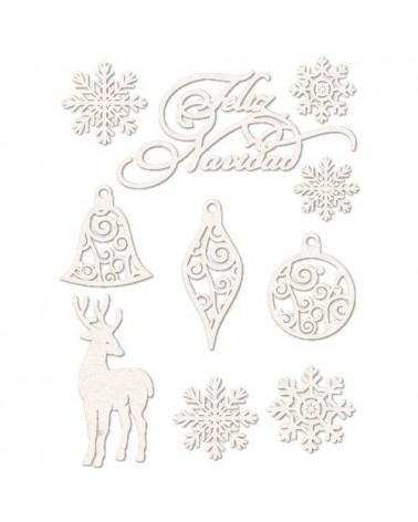 Set Siluetas Cartón 002 Feliz Navidad