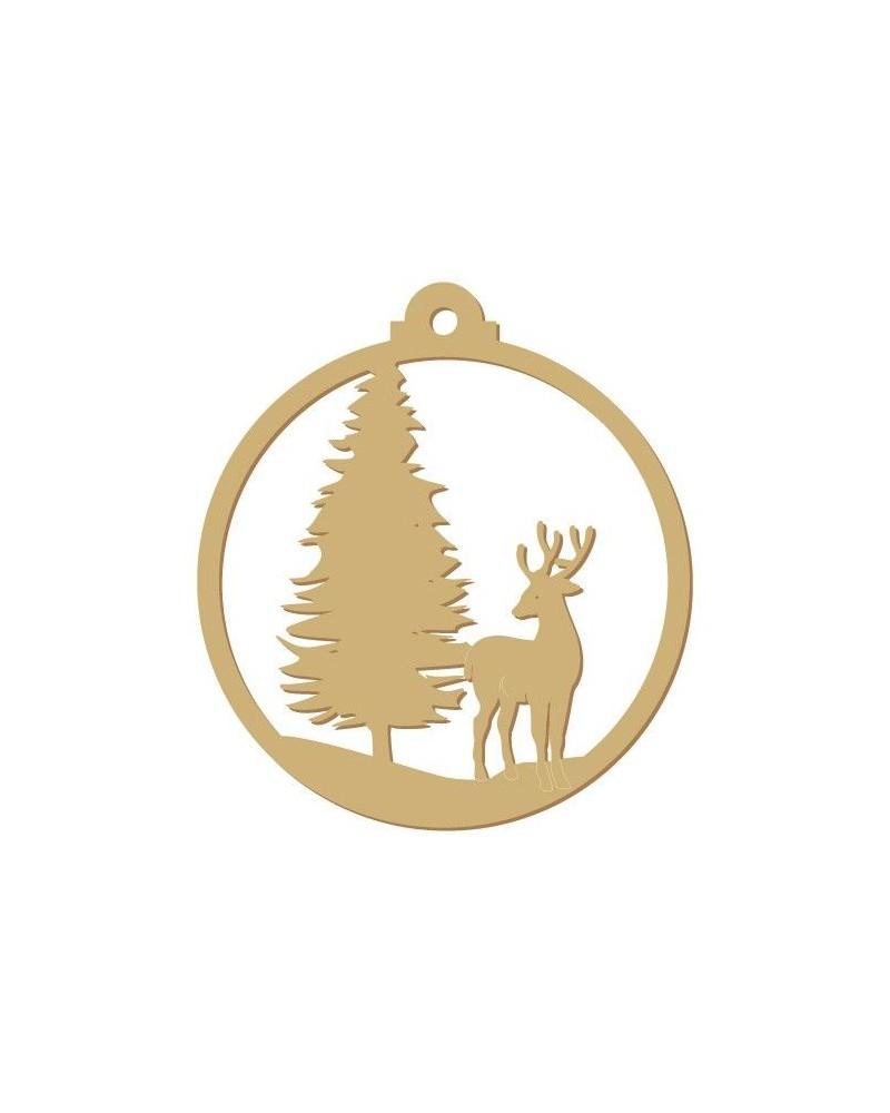 silueta madera fiesta 009 bola arbol y ciervo navidad