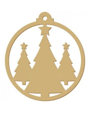 silueta madera fiesta 010 bola arboles navidad