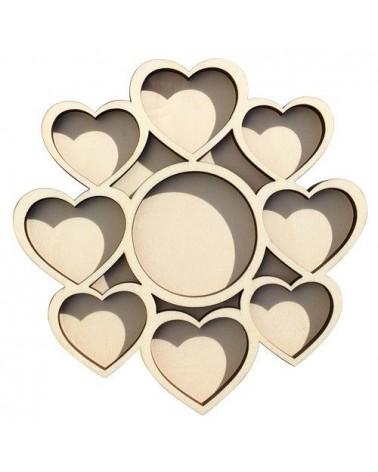 Soporte madera 075 marco fotos corazones