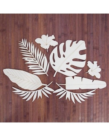 Wood Board 083 Tropical Leaf Set
