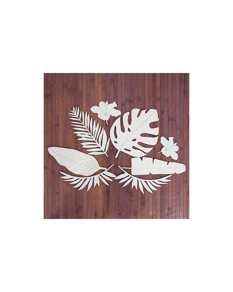 Wood Board 083 Tropical Leaf Set
