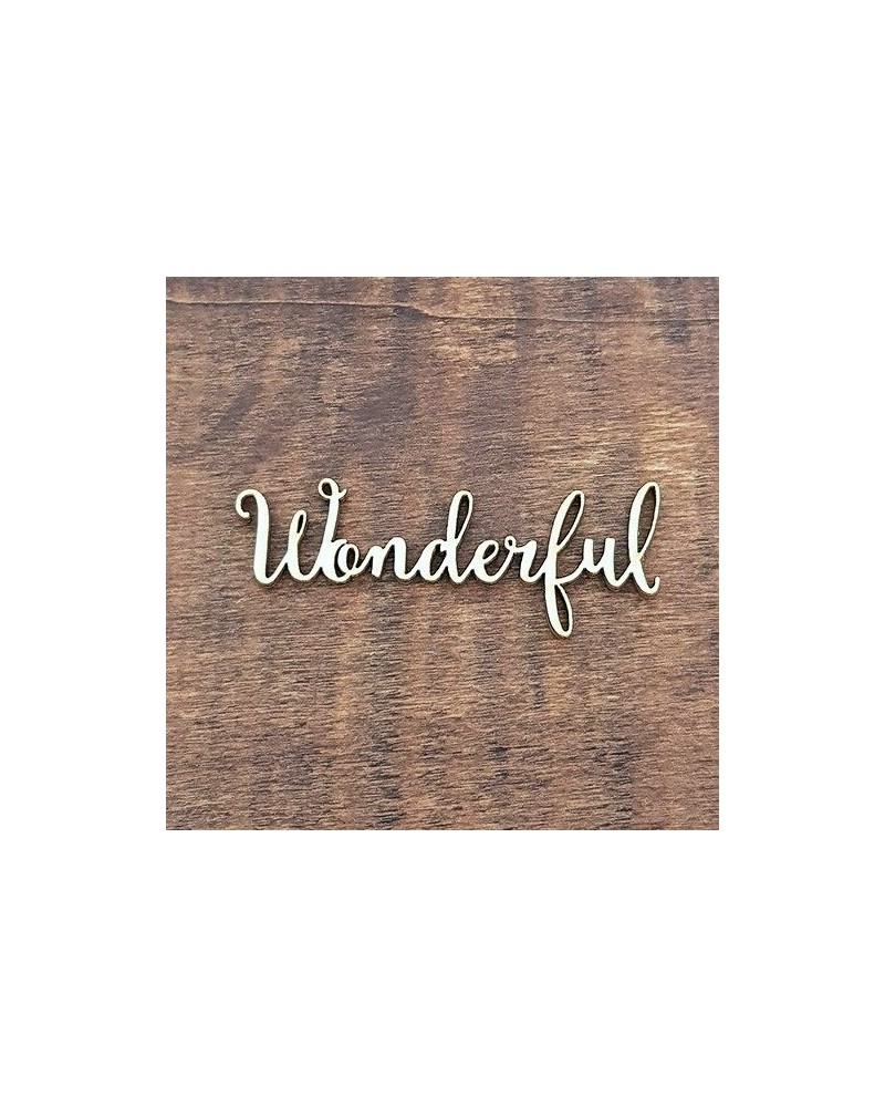 Silueta Texto 008 Wonderful - Madera