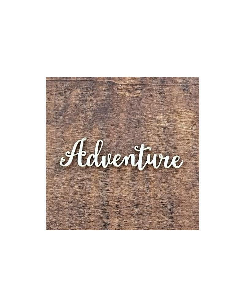 Silueta Texto 012 Adventure - Madera