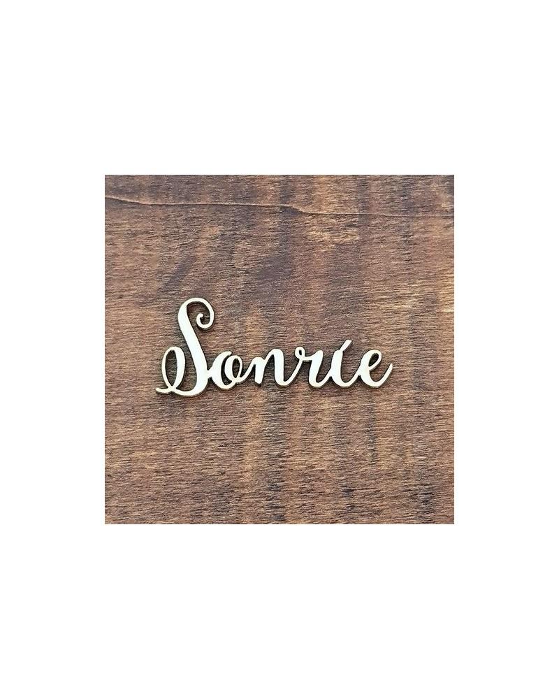 Silueta Texto 026 Sonrie - Madera