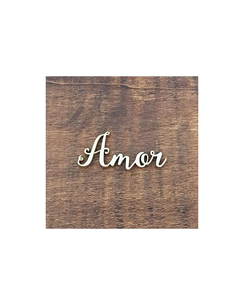 Silueta Texto 030 Amor - Madera