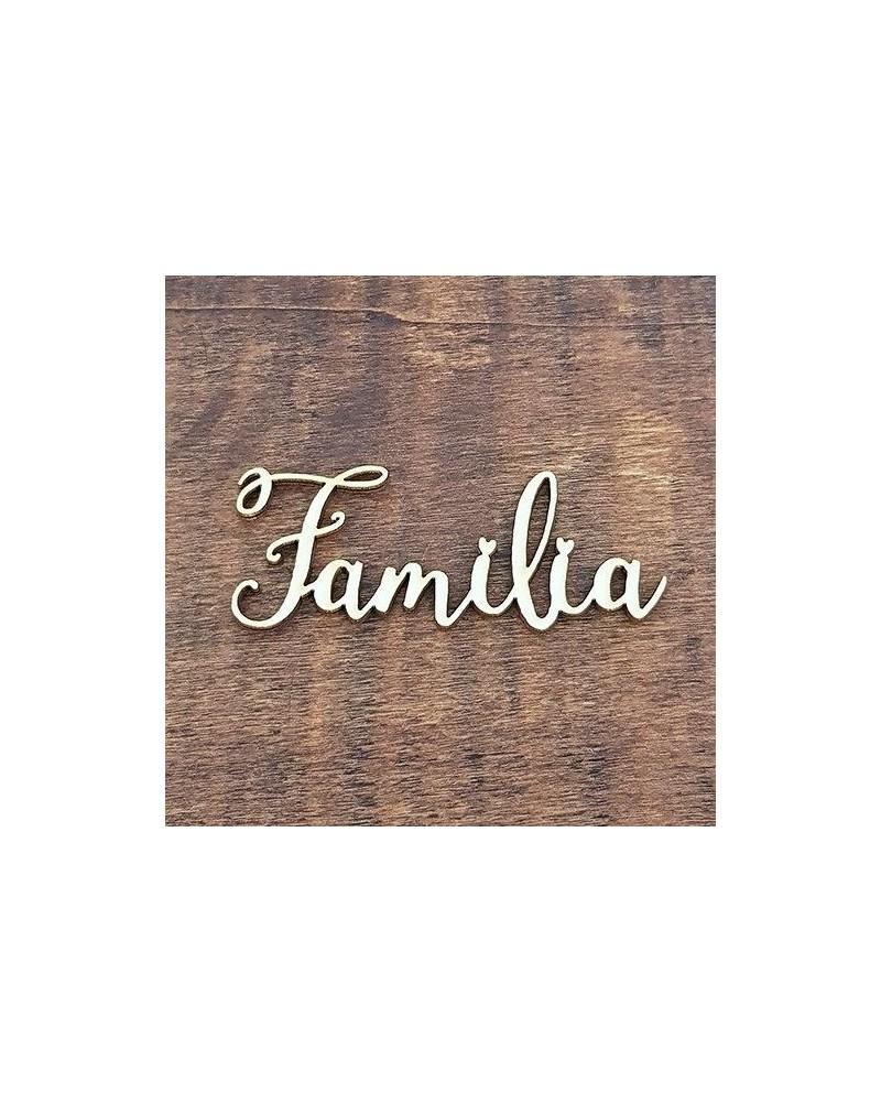 Silueta Texto 037 Familia - Madera