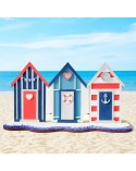 <h1>Kit DIY 006 Casas de playa</h1> <p>Kit compuesto de piezas de madera de 7mm de grosor en crudo que forman la composición de una escena de tres casas de playa con decoración y base.</p>