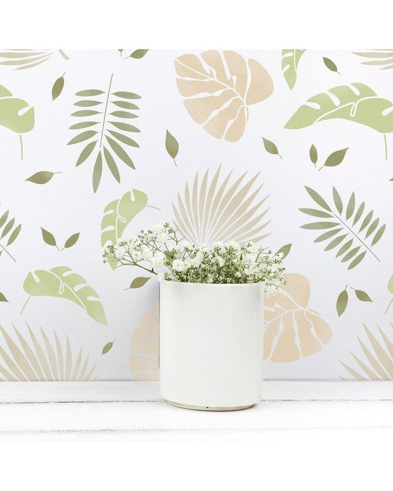 Stencil Home Decor Floral 006 Hojas Tropicales