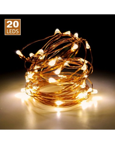 Luces de led 20uds. Cable color cobre