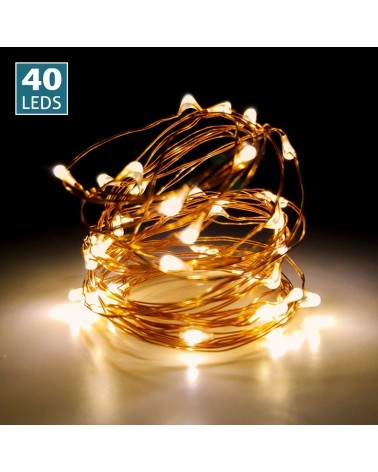 Luces de led 40uds. Cable color cobre