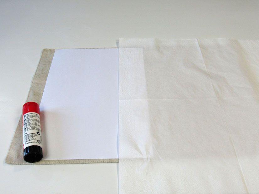 Preparación impresión sobre servilleta, sello caucho Mya TodoStencil