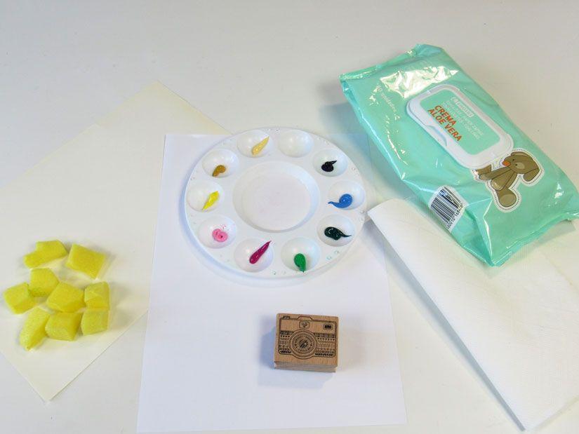 Materiales para crear tu estampación con sello caucho Mya de TodoStencil