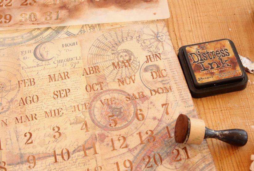 calendario perpetuo estarcido con stencil y masilla de TodoStencil