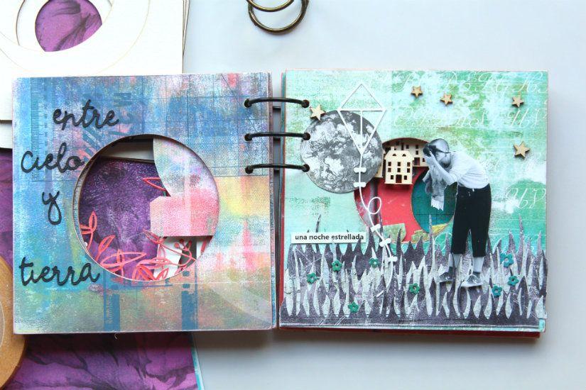 álbum exocéntrico decorado con papel y maderas de TodoStencil